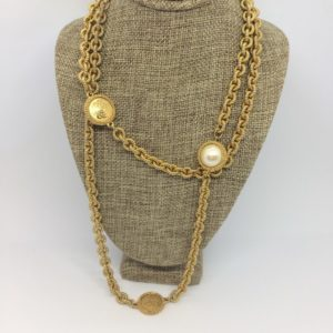 Liz Claiborne Gold Coin Pearl Necklace
