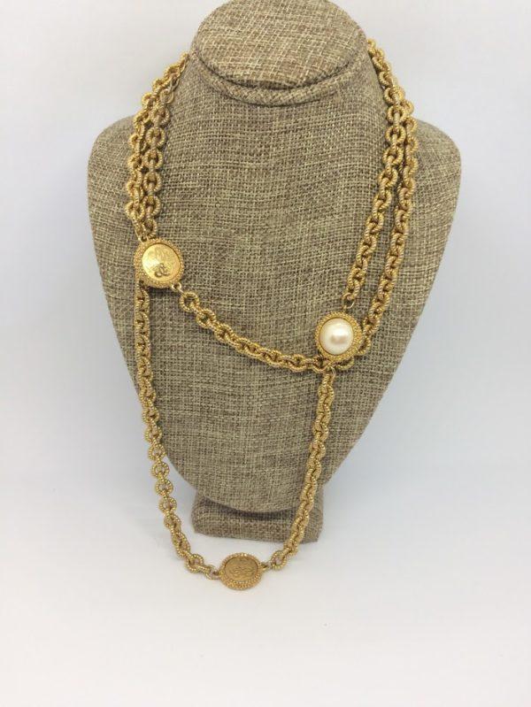 Liz Claiborne Gold Coin Pearl Necklace