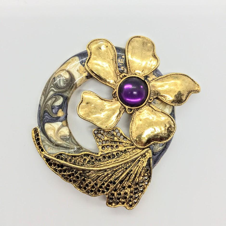 Art Nouveau Purple Swirl Gold Pin